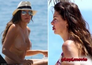 Alba Parietti, fuori di seno a Ibiza in compagnia di Alessio Boni
